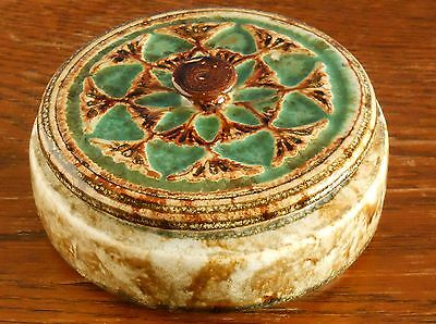 A studio stoneware Ceramic box with inscribed lid