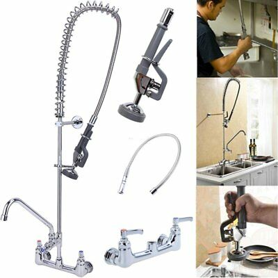 "Swivel Spout Pre-Rinse Kitchen Faucet 12"" Addon Pull Down Sprayer Commercial TK"