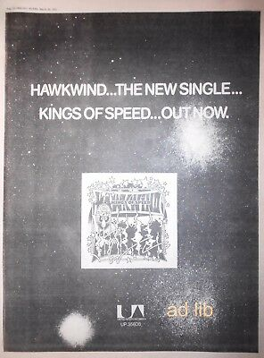"HAWKWIND - KINGS OF SPEED / YES - YESTERDAYS, IN CONCERT UK 16"" x 12"" AD 1975"