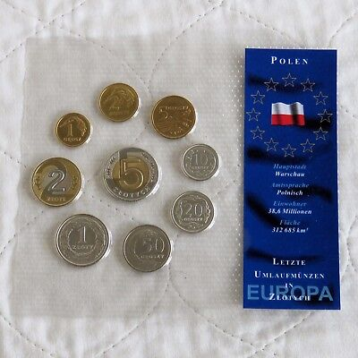 POLAND 9 COIN PRE EURO UNCIRCULATED TYPE SET - sealed pack