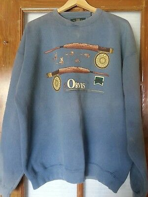 ORVIS Vintage Long Sleeve Sweatshirt Mens Sz L Made in USA Faded Distressed