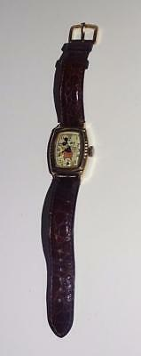"""Disney1939""""gold Toned """"ingersoll """"mickey Mouse Wristwatch""""+100% """"crocodile"""" Band"""
