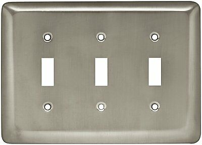 Brainerd 64380 Stamped Steel Round Triple Toggle Switch Wall Plate / Switch /