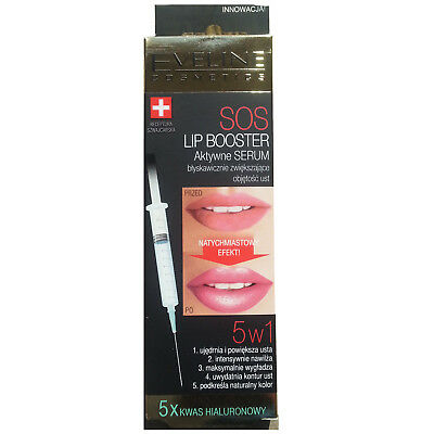 Eveline Argan Oil Sos Lip Booster Plumper Active Serum 5x Hyaluronic Acid 5in1