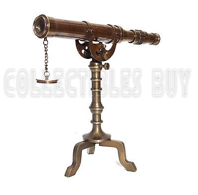Retro Brass Antique Telescope Desk Decor Tripod Nautical Vintage Spyglass Lens