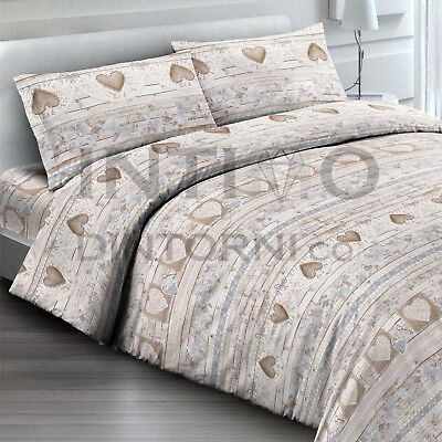 Completo Lenzuola Flanella Tirolese Love Beige Letto Francese Cotone Made Italy
