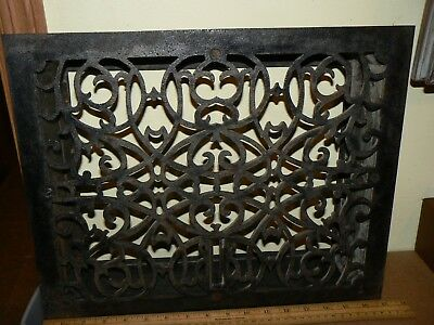 "Vintage Cast Iron Heat Grate Register 17"" W  13 3/4 "" Tall"