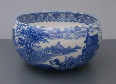 Cauldon Blue and White Chariot Curved Side Round Bowl