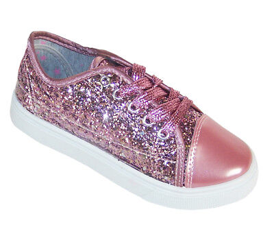 Girls Childrens Kids Pink Sparkly Glitter Skater Shoes Trainers Pumps Fashion