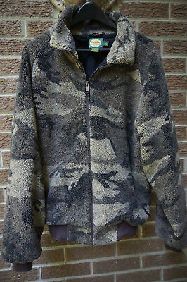 Cabela's camo quiet Berber fleece Gore Windstopper water resist hunting jacket L