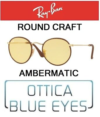 61fb3b78a29 RAYBAN RB 3475Q 90424A ROUND CRAFT YELLOW AMBERMATIC sunglasses Ray Ban  leather