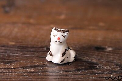 Ceramic Light Grey Cat Tiny Miniature Ornament Garden Cute Hand-painted Gift