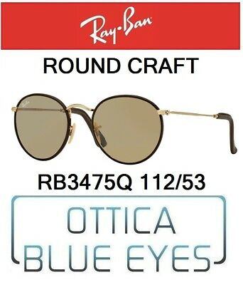b819dd74e6297 RAYBAN RB 3475Q 112 53 ROUND CRAFT sunglasses Ray Ban leather Gold brown New