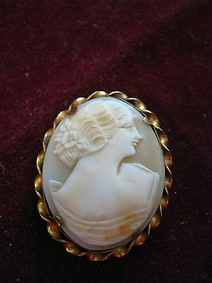 ALL Alfred L. Lindroth c. 1907-1950s 1/20 12K GF SHELL CAMEO BROOCH Hair up Rose