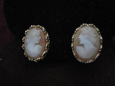 1949 Moulson Patent D156452S Clips CRENULATED PRETTY LADY FACING CAMEO EARRINGS