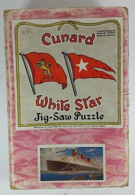 VINTAGE 1930s CUNARD WHITE STAR WOODEN 3 PLY JIGSAW PUZZLE - RMS QUEEN MARY