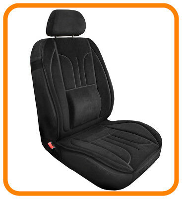 Car Seat Cover Cushion With Lumbar Support  black - velour
