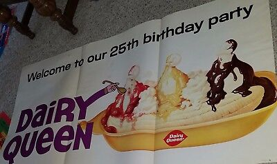 Vintage Dairy Queen 25th Birthday Advertising Poster