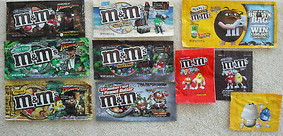 Set 10 M&M Candy Wrappers Pirates of Caribbean Indiana Jones Strawberried Peanut