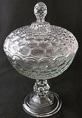 """Victorian flint HONEYCOMB covered compote, 7"""" d."""
