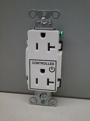 Hubbell DR20C1WHI Decorator Duplex Receptacle for Controlled Applications 20A