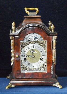 Antique Small Figured Walnut Striking Moonphase Bracket Clock Working