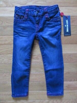 True Religion Kids Combo Super T Jeans, Red Stitching, Adj Waist, Nwt $129, 3T