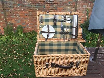 Wicker Picnic Basket With Some Contents, Used.