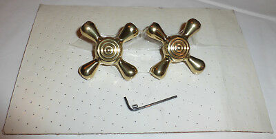 "SALE!!!  Pair of Brass Cross Faucet Handles, 2 7/8"", NEW"