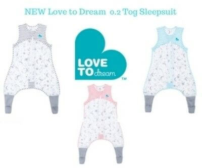 Love to Dream Sleep Suit - 0.2 TOG Aqua Grey Pink 6mths to 4 years FREE SHIPPING