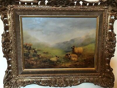 "RARE LISTED VICTORIAN ARTIST GEORGE COLE  ""Mountain Sheep"" OIL CANVAS PAINTING"