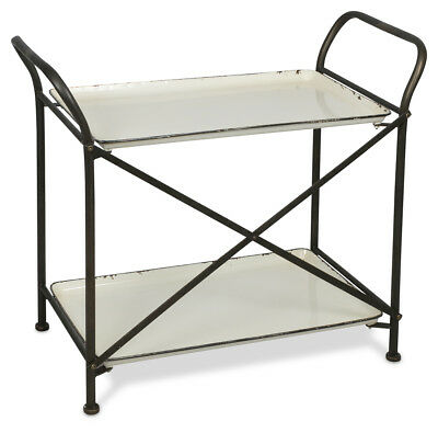 NEW Distressed White And Black 2 Tier Metal Trolley
