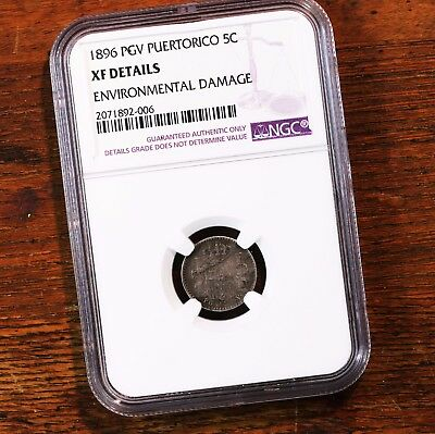 1896 PGV Puerto Rico 5C NGC Certified XF Details Rare PR Silver Coin