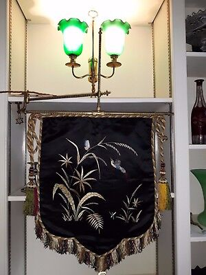 Victorian Embroidered Silk Mantel Face Screen