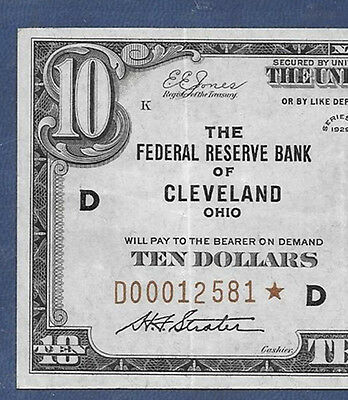 """1929 $10 Frbn """"cleveland"""" ♚♚Star♚♚  Pcgs Very Fine 35 Ppq"""
