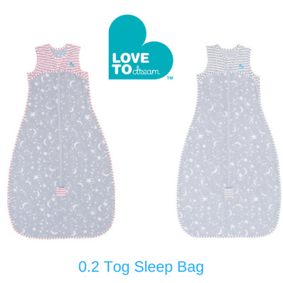 Love to Dream 0.2 Tog Sleep Bag ™ Grey -  Pink 6mths to 3 yrs FREE SHIPPING