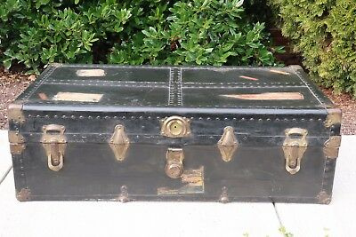 Vintage American Embassy Steamer Trunk Circa 1950's Industrial Steam Punk Style