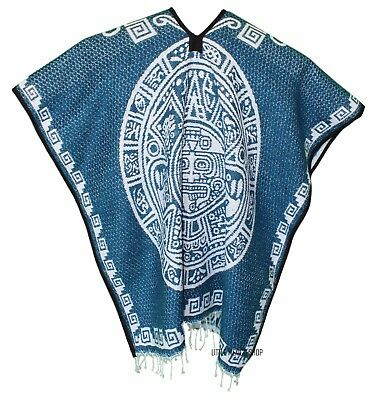 HEAVY BLANKET Mexican PONCHO - Tribal 13 PEARL BLUE - ONE SIZE FITS ALL Gaban