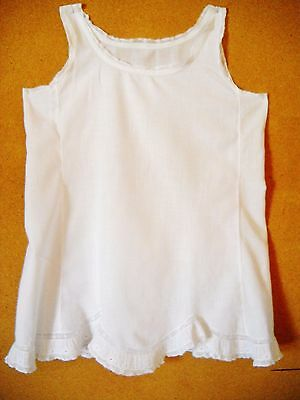 VINTAGE HANDMADE 1940s WHITE COTTON FULL SLIP FOR TODDLER GIRL