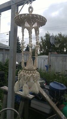 Stunning Macrame With Ceramic Doves Plant Hanger 50""