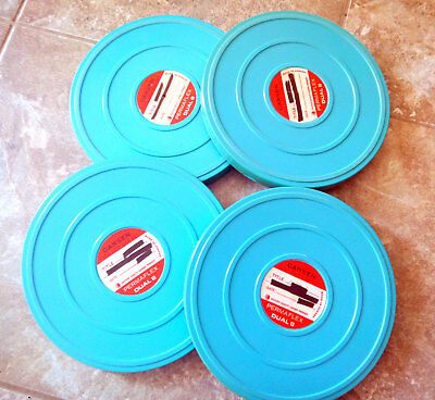 Four 400ft 8mm Film movie CANS for reels