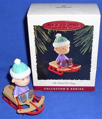 1995 Hallmark #3 in The Peanuts Gang Series Ornament Linus Sled Mint in Box