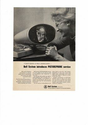 Vintage 1964 Bell System First Picturephone Telephone Grandma Ad Print
