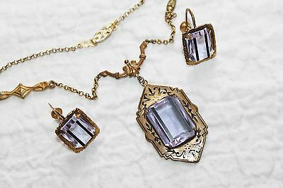 Rare VICTORIAN Brass & GOLD FILLED Amethyst Paste Necklace & Earrings set