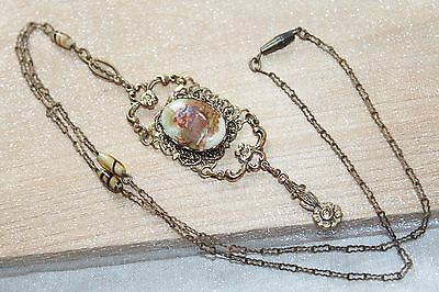 Victorian Vintage CZECH Brass PAPERCLIP Chain COURTING SCENE Lariat Necklace