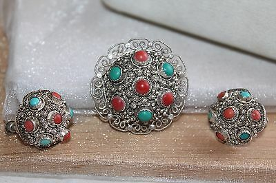 VICTORIAN Chinese EXPORT Cannetille STERLING CORAL TURQUOISE Brooch earring set