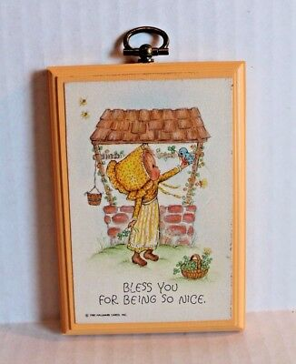 """Vintage 1980 Hallmark Holly Hobbie Plaque """"Bless You For Being So Nice"""" Picture"""