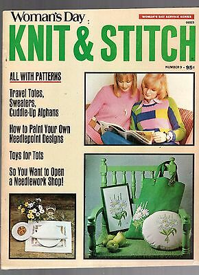 1973 Woman's Day Knit & Stitch Magazine-Number 9-Patterns-Afghans-Sweaters-Totes