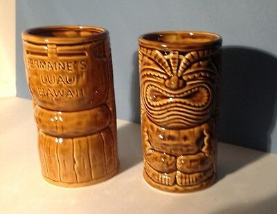 2 BROWN HAWAIN FOLK ART VASES 15cm high