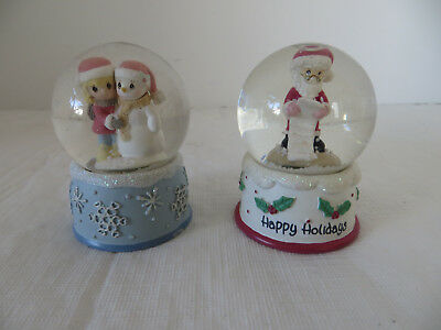2 Precious Moments Mini Happy Holidays Snow Globes